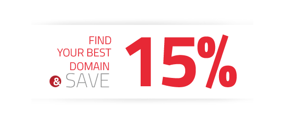 Find your best domain & save 15%